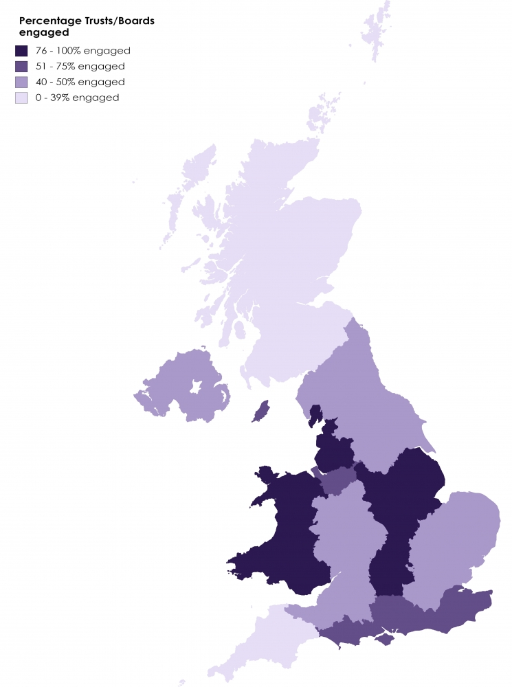Map of the UK with regions coloured to indicate the level of engagement with ACSA