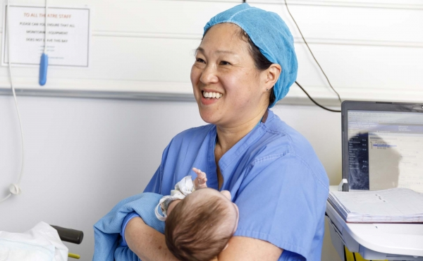 Anaesthetist with baby