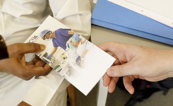 Patient leaflet with doctor and patient