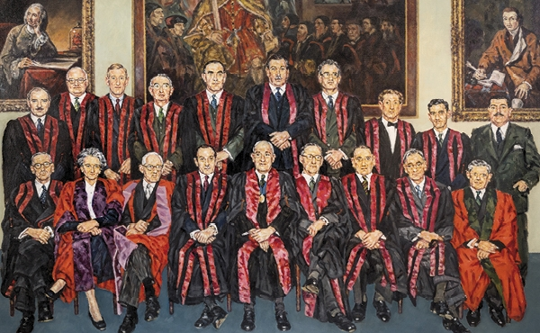 This painting is of the first Board of Faculty, presented to the Royal College of Anaesthetists in 1998 by the Association of Anaesthetists of Great Britain and Ireland to mark the Golden Jubilee of the Faculty of Anaesthetists, 1948–1998.