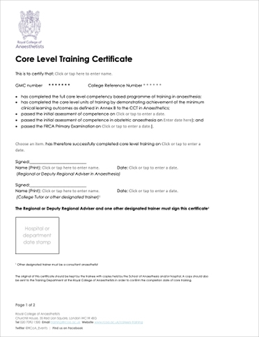 Core Level Training Certificate