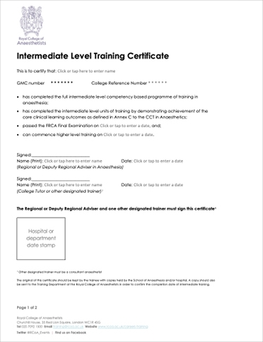 Intermediate Level Training Certificate
