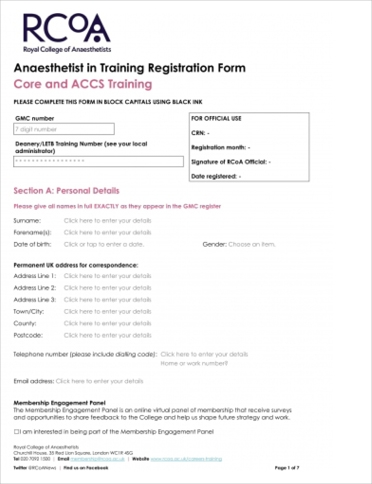 Core Training registration form