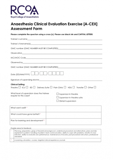 A-CEX assessment form