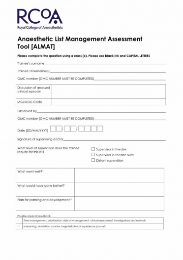 ALMAT assessment form