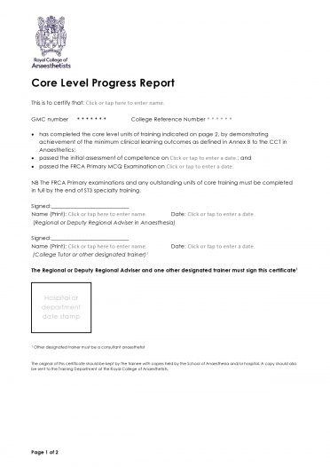 Core Level Progress Report for trainees completing indicated core level units and the FRCA Primary OSCE/SOE by the end of ST3